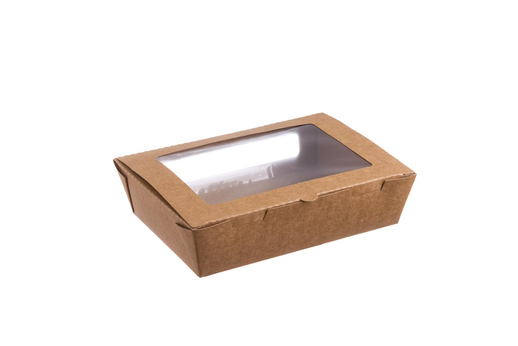CAIXA TAKE AWAY C/ JAN. KRAFT 1200ML 20x14|18x12x5CM PACK50